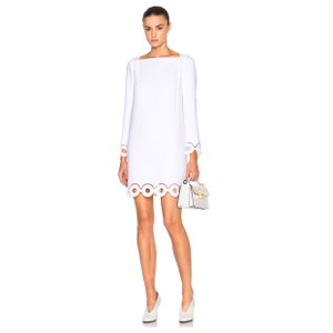 Carven Long-sleeve Eyelet Crepe Dress