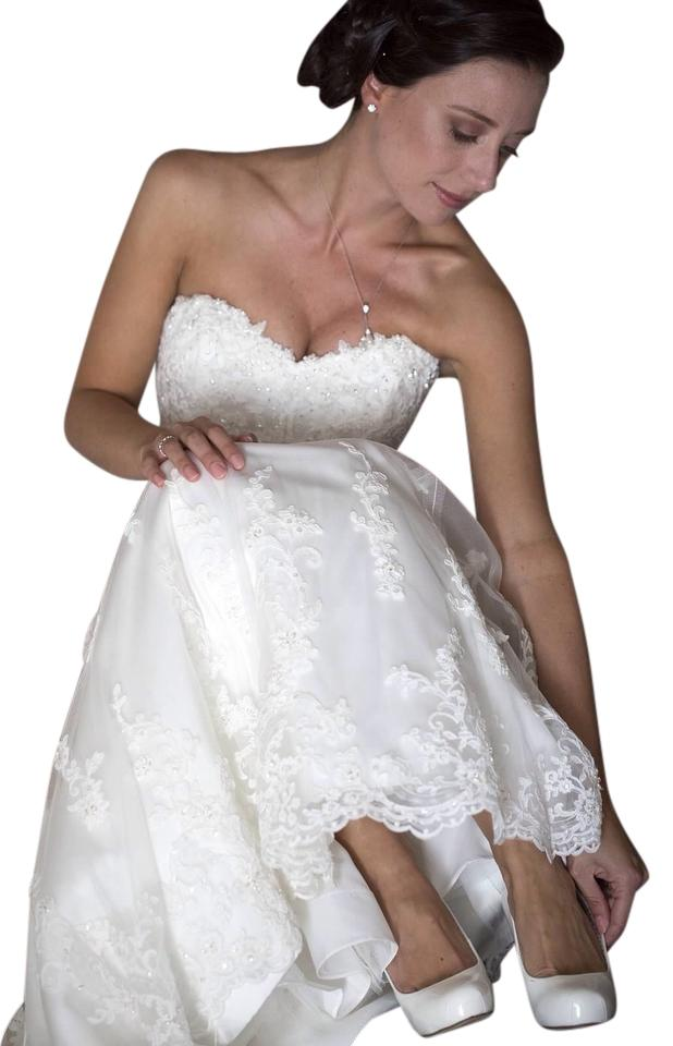 Maggie Sottero Ivory Lace Emma Gown Traditional Wedding Dress Size 4 ...