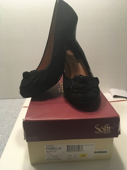 Eürosoft by Söfft Suede Cushioned Insole Suede Flowers Black Pumps Image 2