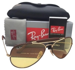 Ray-Ban Photochromic RAY-BAN Sunglasses RB 3422-Q 9042/4A Gold & Brown Leather