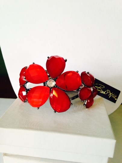 Buck Hill Buck Hill NWOT, 2-Piece Set Red & Crystal Flower Statement Necklace & Bracelet