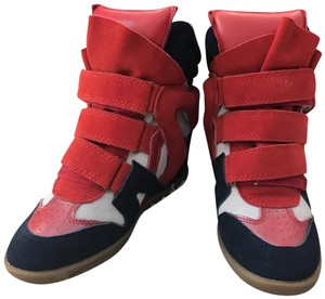 Isabel Marant Suede Velvet Strappy Blue and Red Wedges