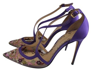 Marchesa Heel Luxury Daphne Purple Satin and Embroidery Pumps