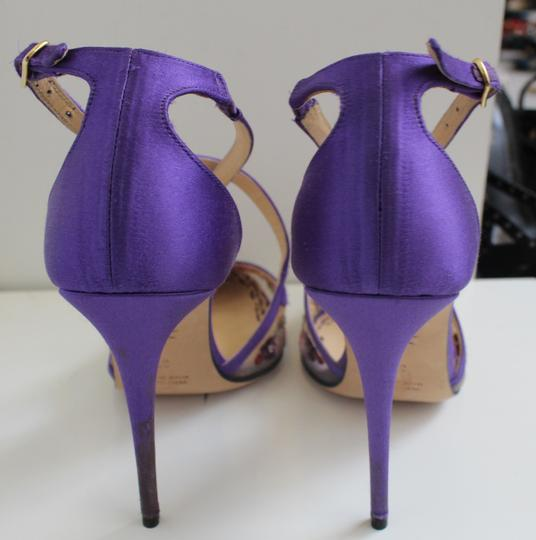 Marchesa Heel Luxury Daphne Purple Satin and Embroidery Pumps Image 1