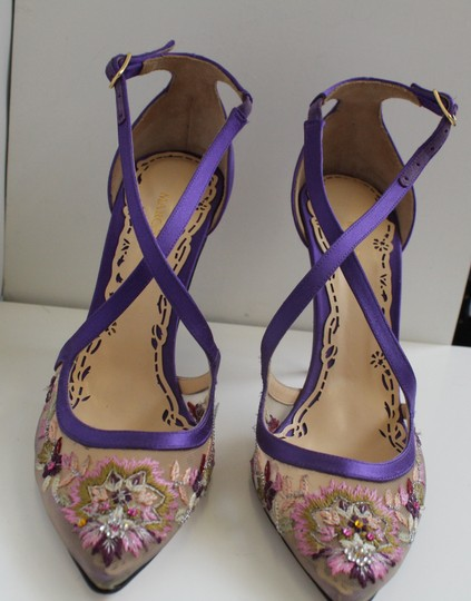 Marchesa Heel Luxury Daphne Purple Satin and Embroidery Pumps Image 2