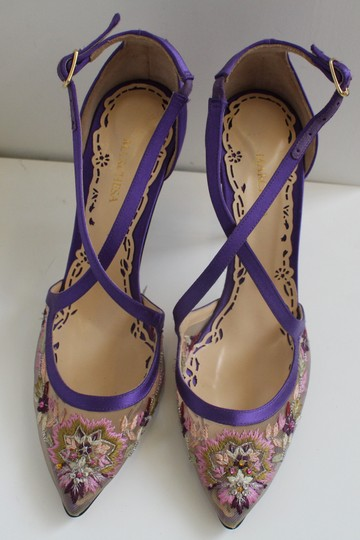Marchesa Heel Luxury Daphne Purple Satin and Embroidery Pumps Image 4
