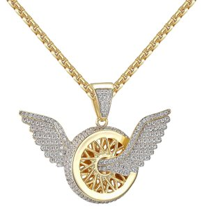 Other Angel Wings Wheel Tire Pendant 14k Gold Finish Sterling Silver