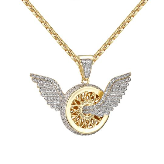 Other Angel Wings Wheel Tire Pendant 14k Gold Finish Sterling Silver Image 1