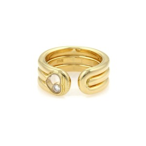 Chopard Happy Diamond 18k YGold 7.5mm Wide Heart Cuff Band Ring Size 5