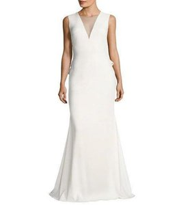 Badgley Mischka Ivory/Chalk Poly/Spandex Chalk/White Embellished Buttons Gown Modern Wedding Dress Size 10 (M)