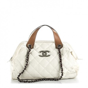 Chanel Iridescent In The Mix Hermes Quilted Tote in White Brown