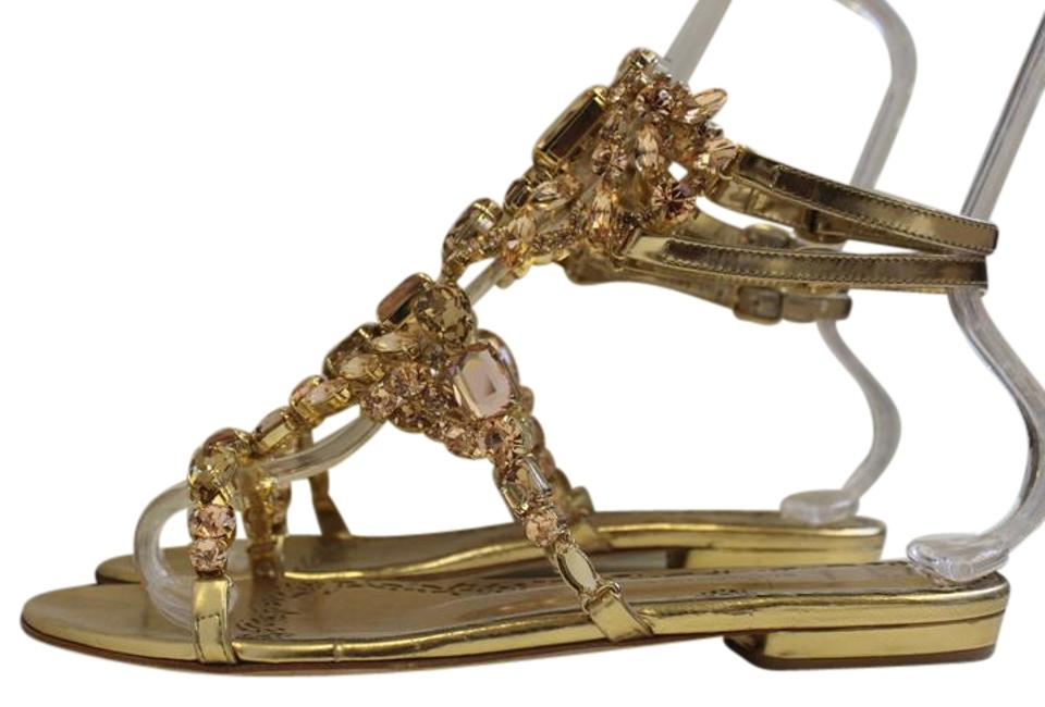 Marchesa Emily Gold Leather and Sandals Swarovski Crystal Sandals and 20d540