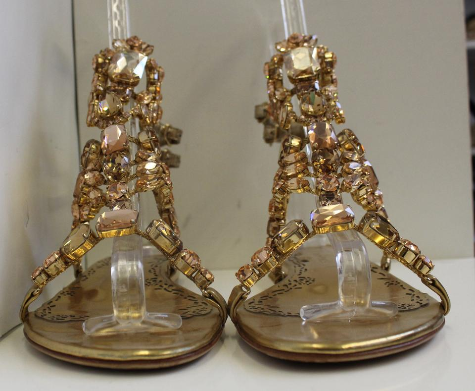 8016b485a2 Marchesa Jeweled Flat Emily Gold Leather and Swarovski Crystal Sandals  Image 4. 12345