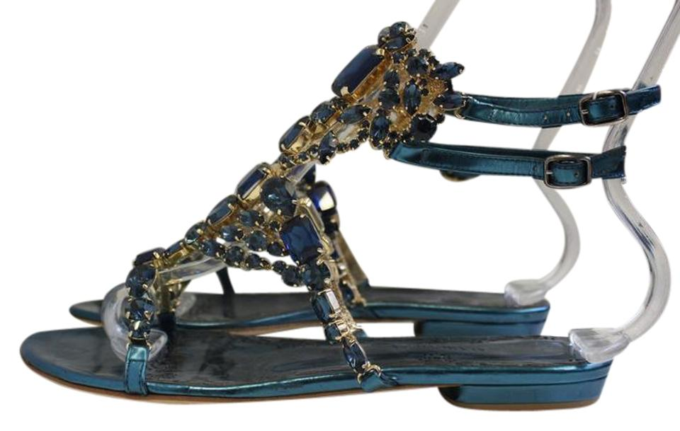 6dc154d0c46e27 Marchesa Emily Navy Leather and Swarovski Crystal Sandals Size EU 37 ...