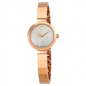 Movado Novella White MOP Dial Rose Gold Ladies Bangle Watch