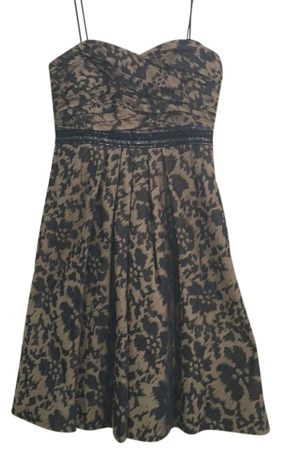 Item - Black and Brown Strapless Mid-length Formal Dress Size 6 (S)