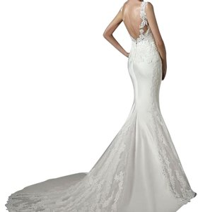 Pronovias Ivory 7555314 Modern Wedding Dress Size 2 (XS)