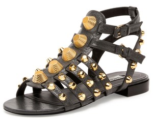 Balenciaga Giant 12 Golden Studded Arena Caged Calfskin Leather Made In Italy Dark Gray (Gris Fossile) Sandals