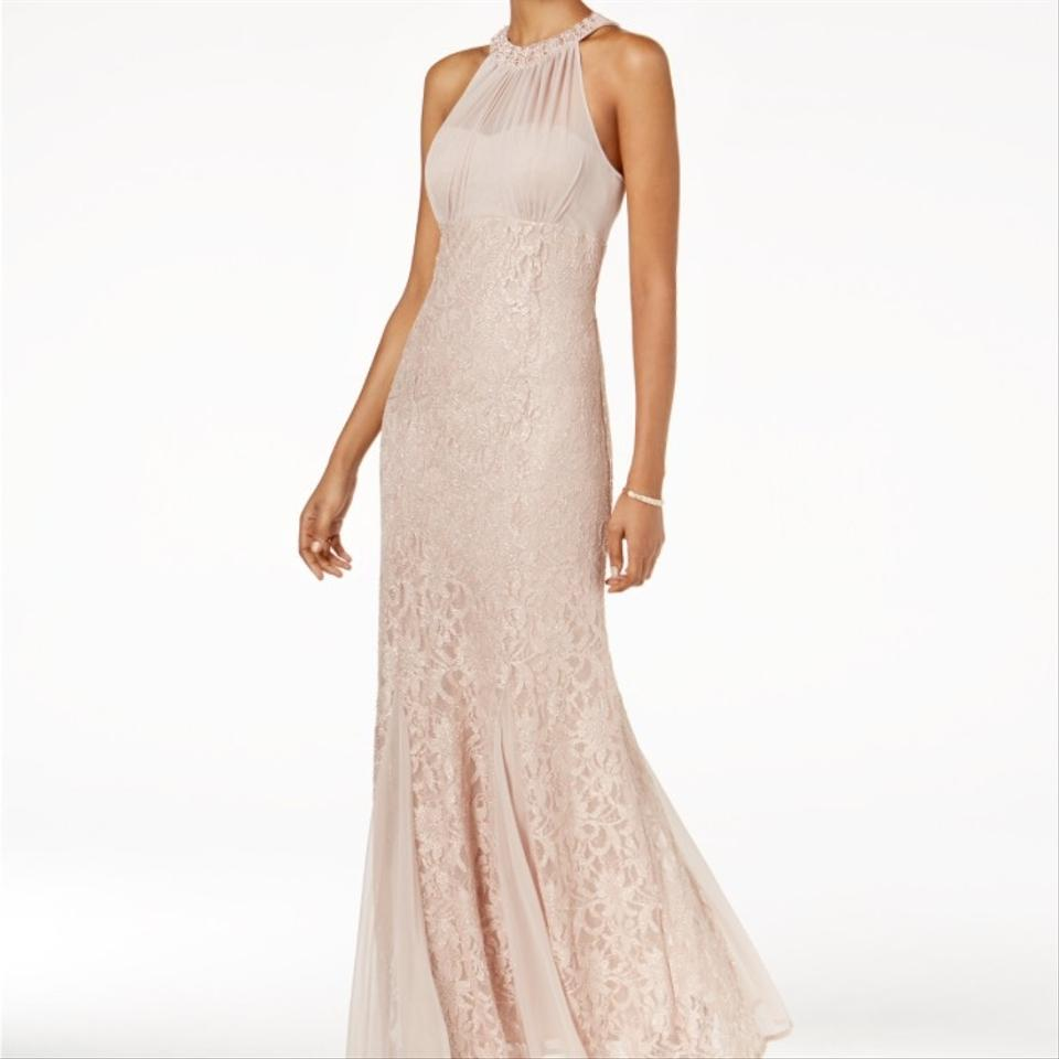 Night Way Collections Blush Lace Halter Beaded Gown Formal Wedding ...