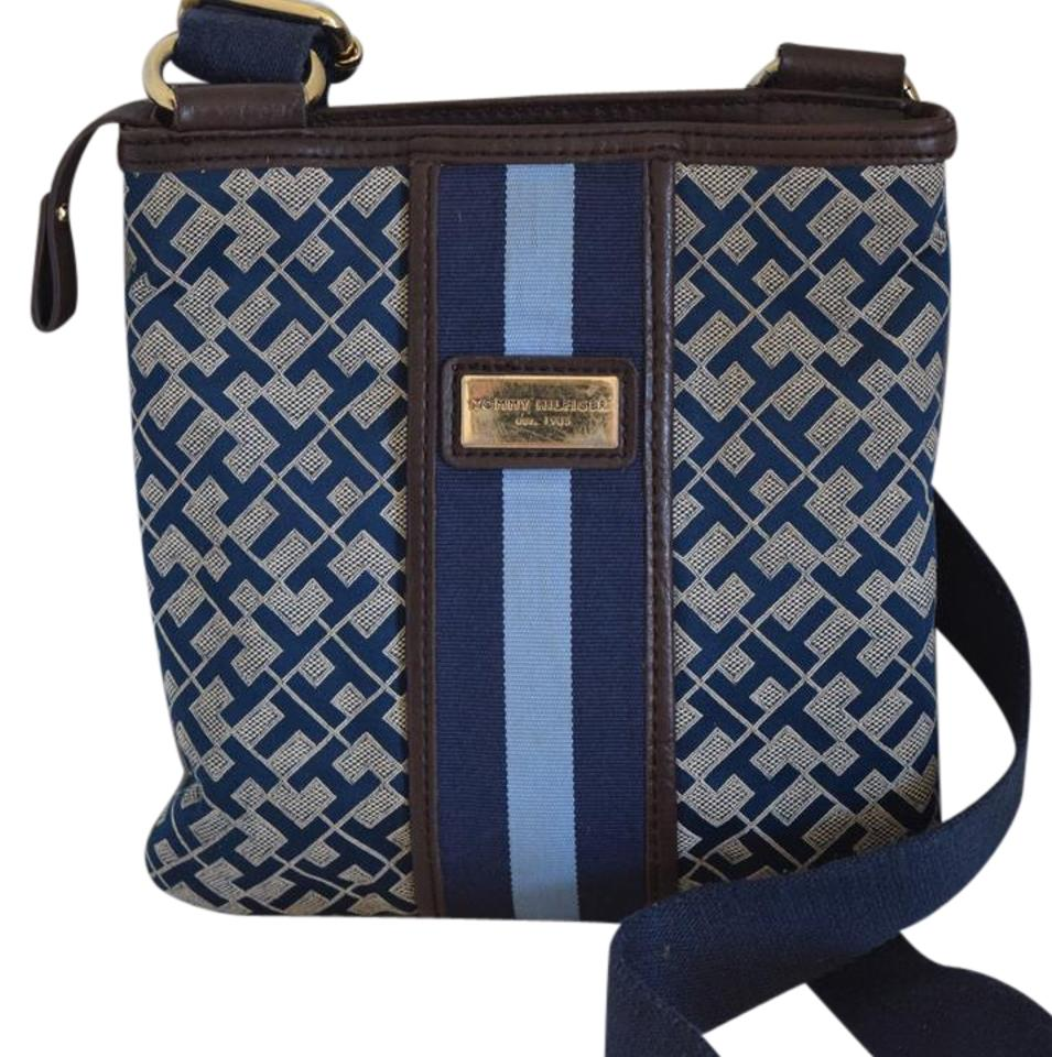 6a669ad079 Tommy Hilfiger Navy Blue Canvas and Faux Leather Cross Body Bag ...