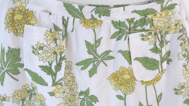 Anthropologie Size 8 Floral Summer Cotton Skirt Yellow Green White