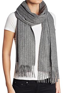 Rag & Bone New! Charcoal Brushed Pinstripe Wool Scarf
