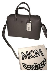 MCM Structured Leather Imported Grey Satchel in Bungee Cord