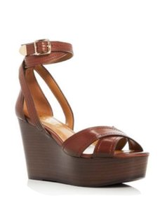 Coach Sandals Leather Brown Wedges