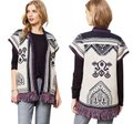 Anthropologie Blend Chunky Knit Fun Fringe Patterned Knit Warm + Comfy Cardigan Image 1