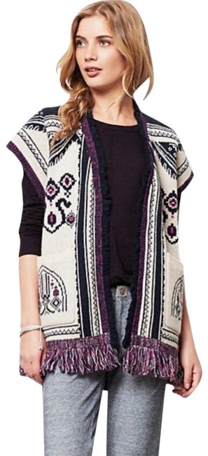 Anthropologie Blend Chunky Knit Fun Fringe Patterned Knit Warm + Comfy Cardigan Image 2