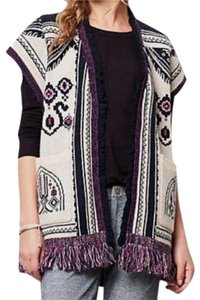 Anthropologie Blend Chunky Knit Fun Fringe Patterned Knit Warm + Comfy Cardigan