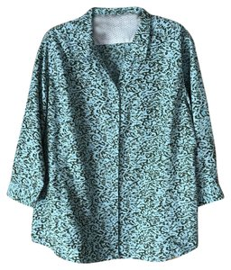 Royal Robbins Snap Close Roll Up Sleeves Quick Dry Wicking Fabric Top Aqua and Olive
