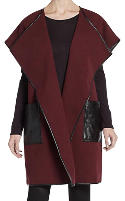 Preload https://img-static.tradesy.com/item/22316110/saks-fifth-avenue-burgundy-black-label-faux-leather-accented-shawl-jacket-blazer-size-0-xs-0-1-650-650.jpg