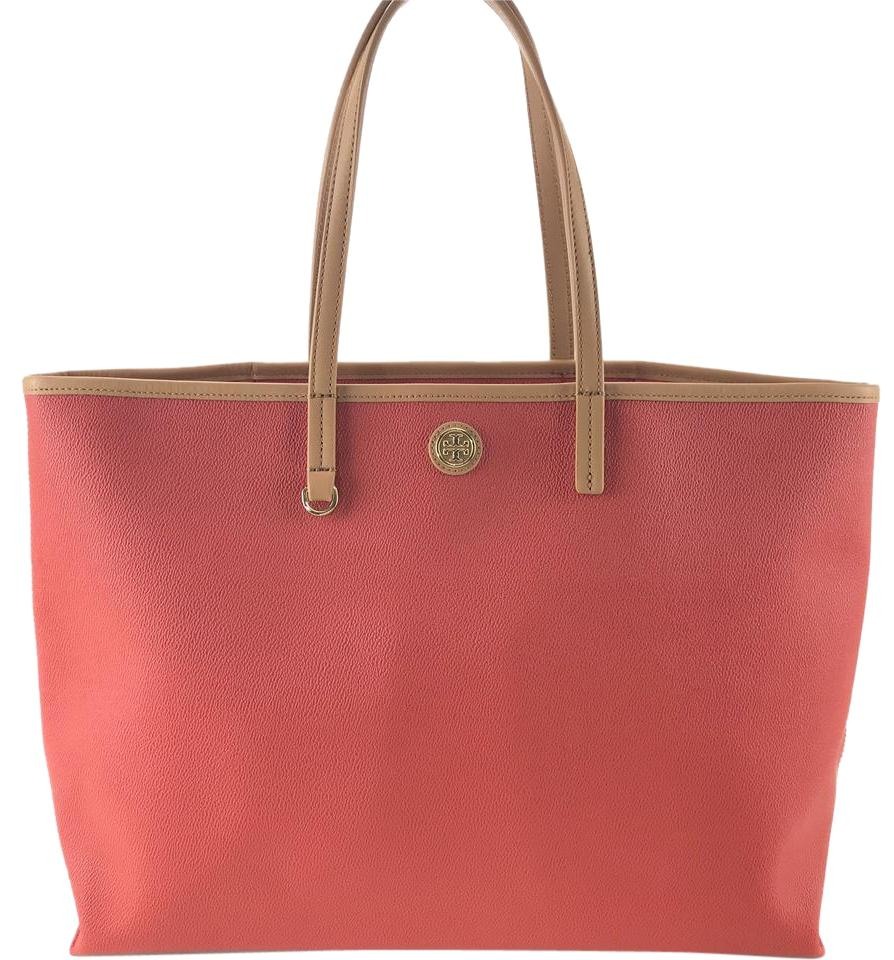 3924a53aa2b Tory Burch Cameron Coated Red Canvas Tote - Tradesy