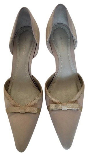 c4cbcc84f9 Anne Klein Wedding Manolo Blahniks Closed Toe Nude Bow Beige Pumps Image 0  ...