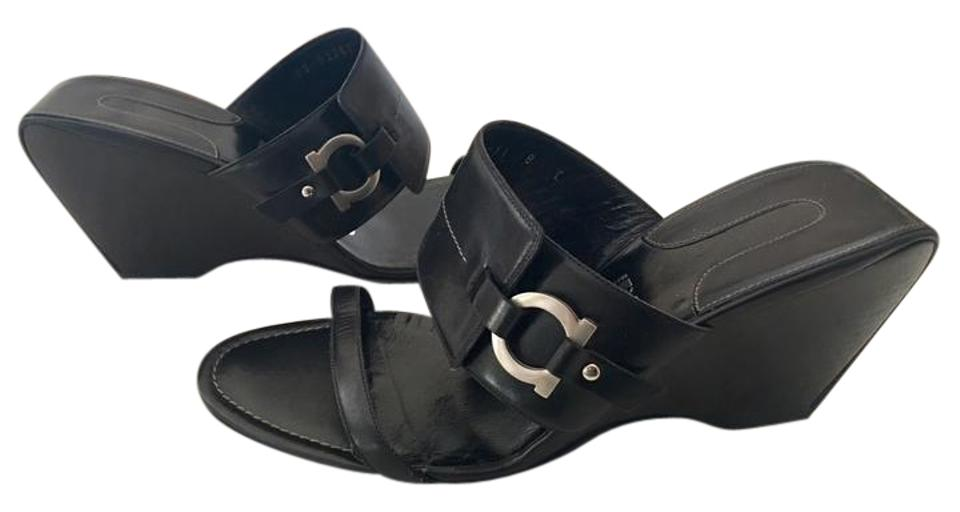 Salvatore Ferragamo Black Leather And Wood Heel Silver Logo Sandals