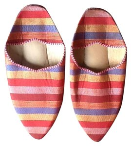Moroccan Striped Slippers red-blue-gold Mules