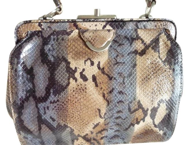 Item - Genuine Snakeskin Brown Beige Gray Black Cream Leather Tote