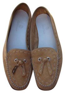 Cole Haan Suede Leather Edging White Stitching Tan Flats
