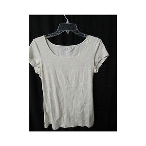 Caslon Womens Cream Sequin Tee Shirt Top Beiges