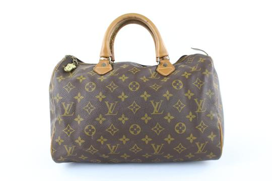 LOUIS VUITTON Damier Speedy Limited Edition Rare Speedy 35 Satchel in Brown Image 10