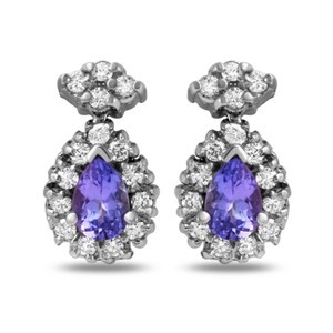 Other 1.75Ct Natural Tanzanite and Diamond 14K Solid White Gold Earrings