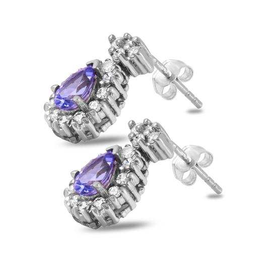 Other 1.75Ct Natural Tanzanite and Diamond 14K Solid White Gold Earrings Image 1