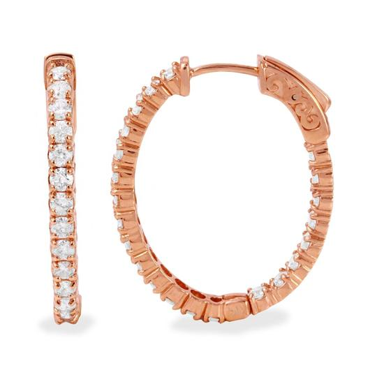 other 2.32Ct Natural Diamond 14K Rose Gold Hoop Earrings Image 2