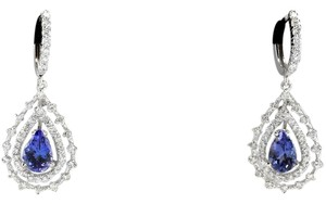 Other 6.00Ct Natural Tanzanite and Diamond 14K White Gold Earrings