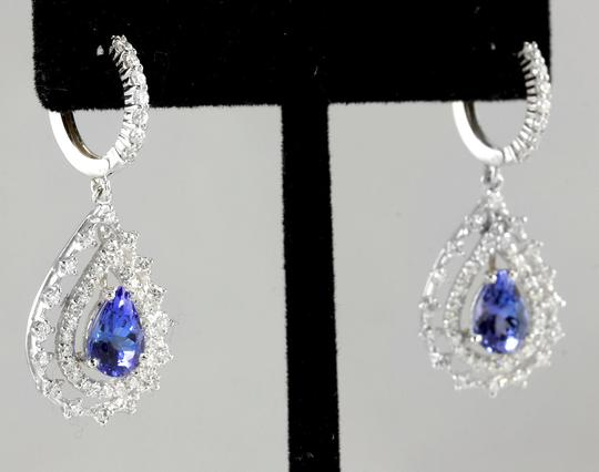 Other 6.00Ct Natural Tanzanite and Diamond 14K White Gold Earrings Image 1