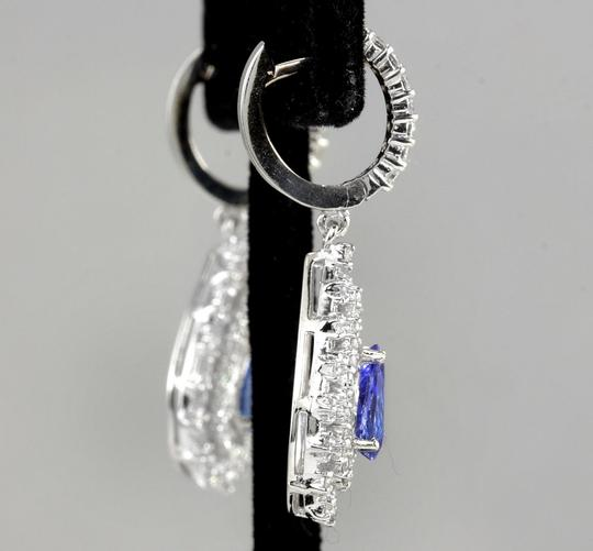 Other 6.00Ct Natural Tanzanite and Diamond 14K White Gold Earrings Image 2