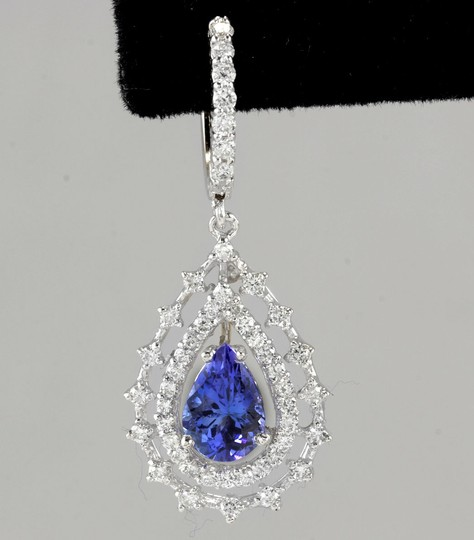 Other 6.00Ct Natural Tanzanite and Diamond 14K White Gold Earrings Image 3