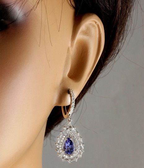 Other 6.00Ct Natural Tanzanite and Diamond 14K White Gold Earrings Image 6