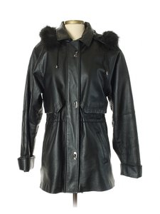 Croft & Barrow Parka Coat Insulated Hooded Faux Fur Leather Jacket